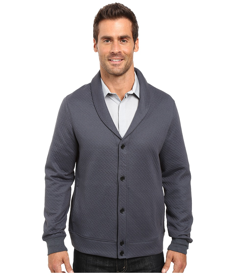 Perry Ellis - Quilted Shawl Collar Cardigan (Slate) Men's Sweater