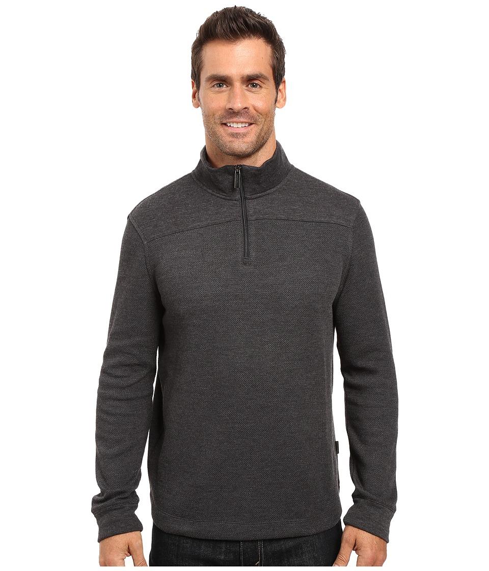Perry Ellis - Quilted Textured 1/4 Zip Vest (Charcoal Heather) Men's Vest