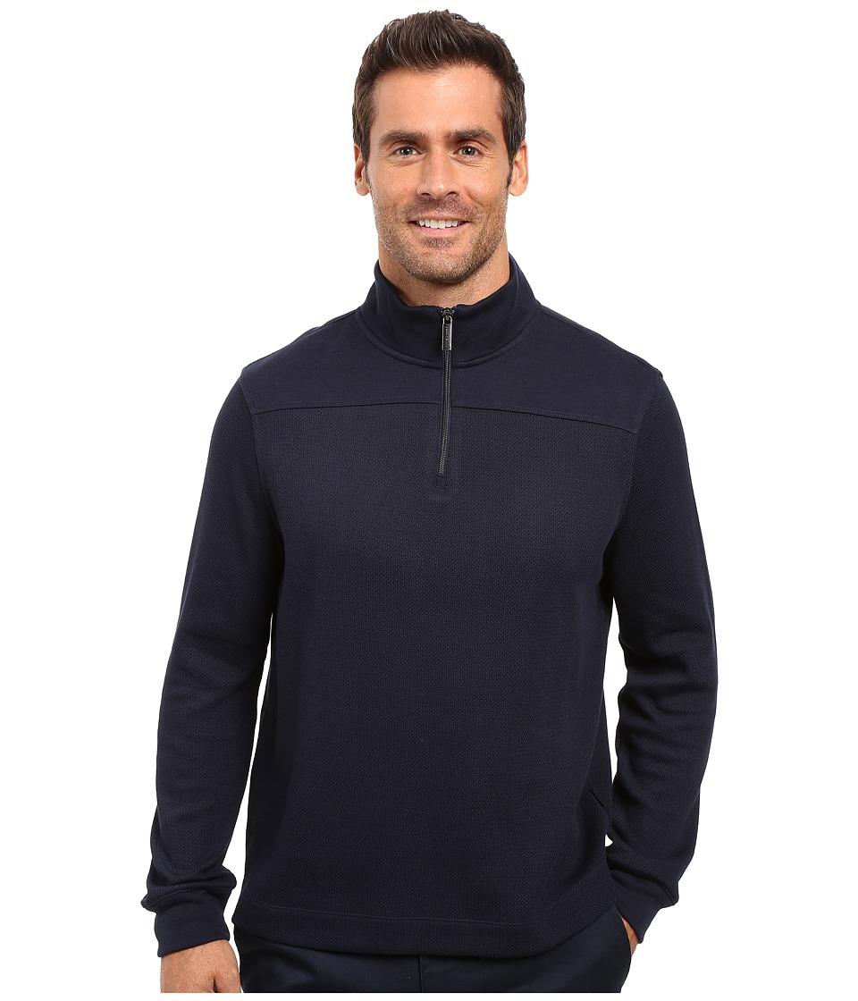 Perry Ellis - Quilted Textured 1/4 Zip Vest (Black) Men's Vest