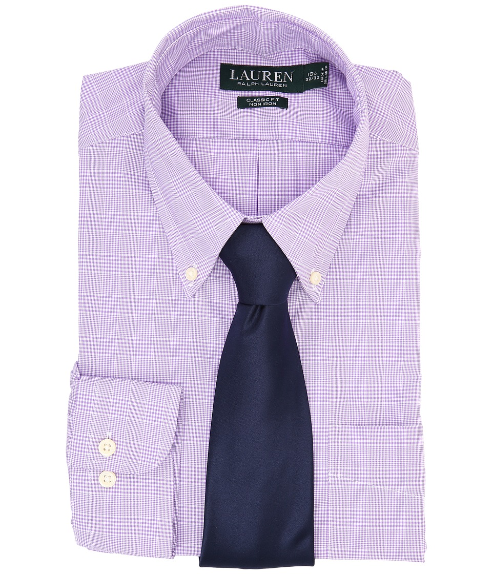 LAUREN Ralph Lauren - Ni Poplin Check Stretch Classic Button Down Pocket Shirt (Purple/White) Men's Long Sleeve Button Up