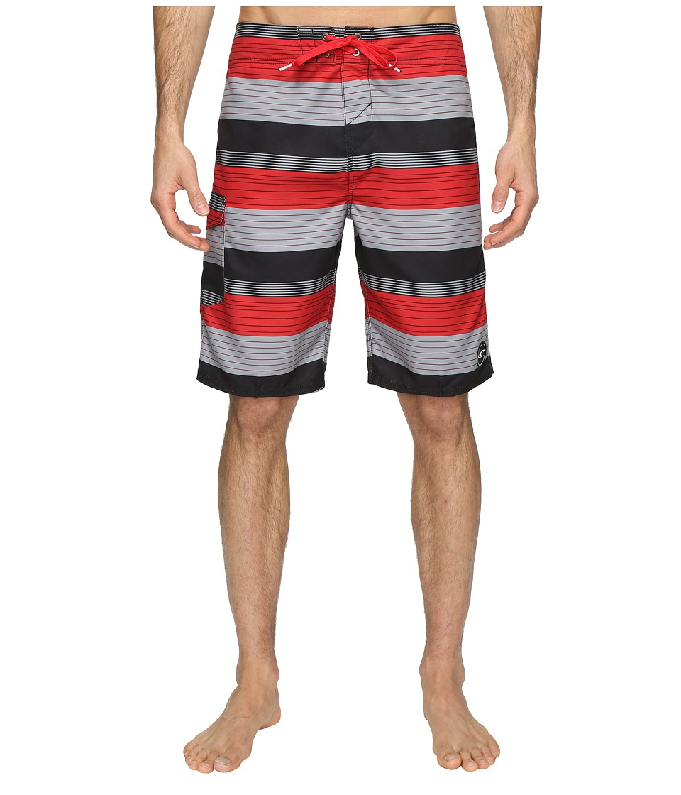 O'Neill - Santa Cruz Stripe Boardshorts (Red) Men's Swimwear