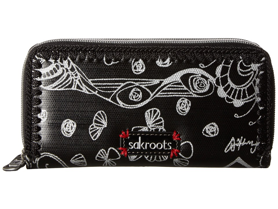 Sakroots - Artist Circle Double Zip Wallet (Metallic Songbird) Wallet Handbags