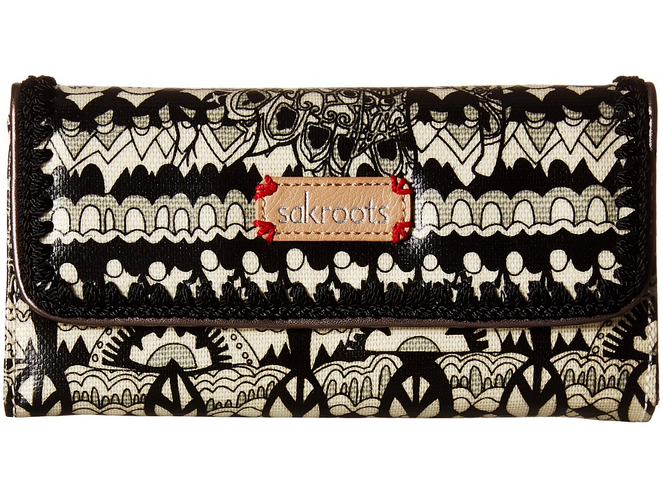 Sakroots - Artist Circle Trifold Wallet (Black/White One World) Wallet Handbags