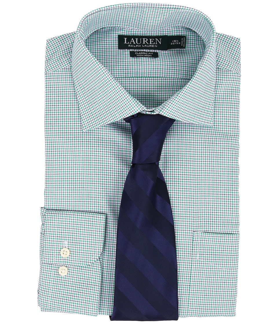 LAUREN Ralph Lauren - Non Iron Twill Classic Warren Pocket Shirt (Fern/White Mulit) Men's Long Sleeve Button Up