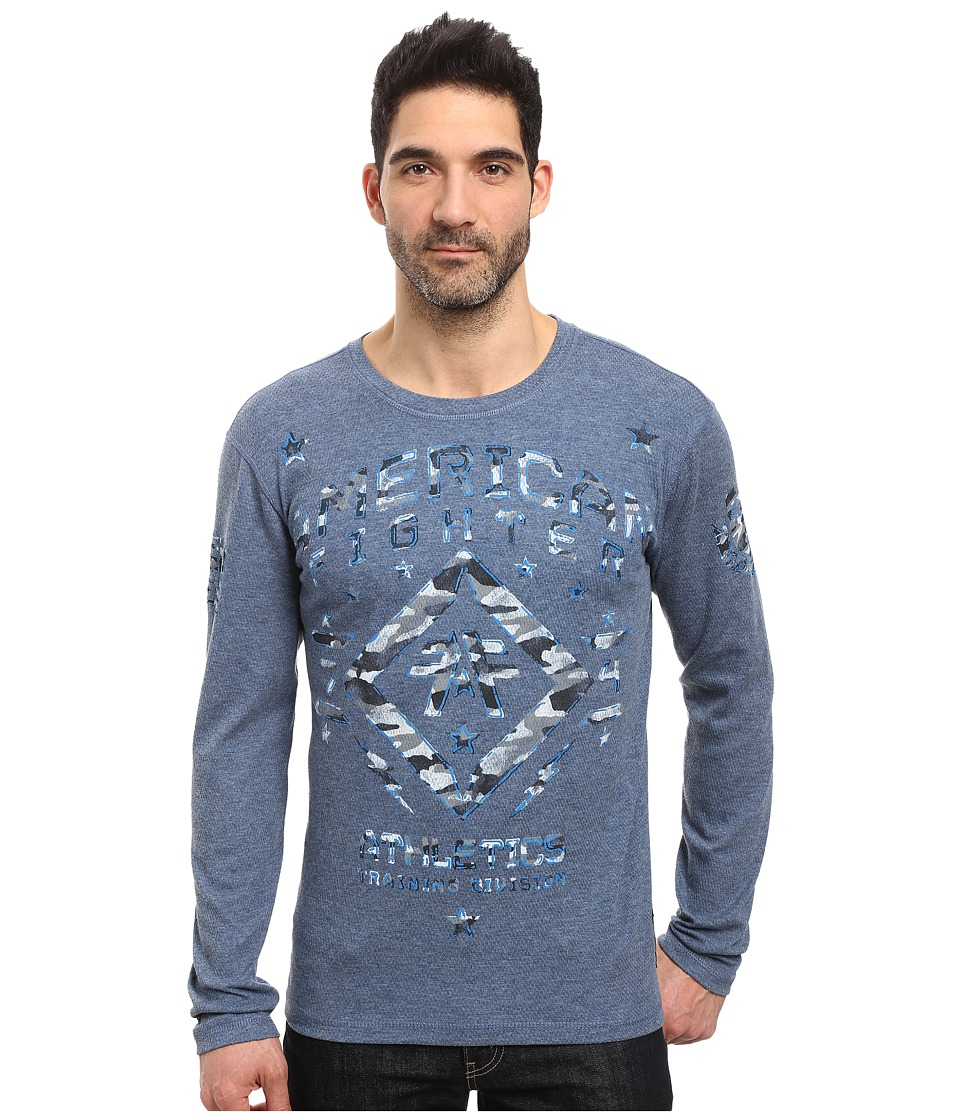 American Fighter - Haverford Long Sleeve Reversible Thermal (Heather Black/Cobalt) Men's Clothing