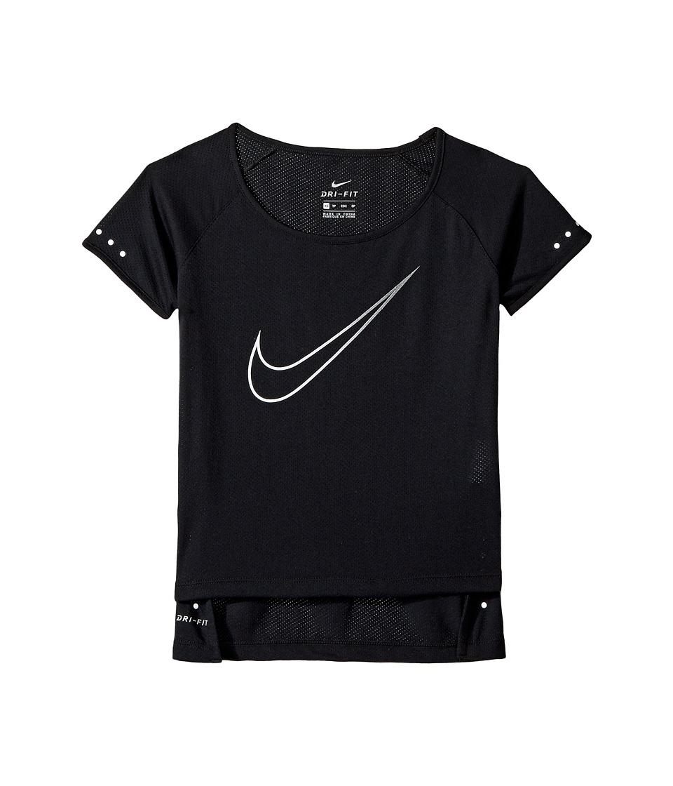 Nike Kids - Breathe Short Sleeve Running Top (Little Kids/Big Kids) (Black/White) Girl's Clothing