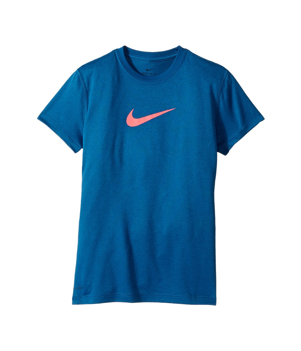 Nike Kids - Legend S/S Top (Little Kids/Big Kids) (Industrial Blue/Racer Pink) Girl's T Shirt