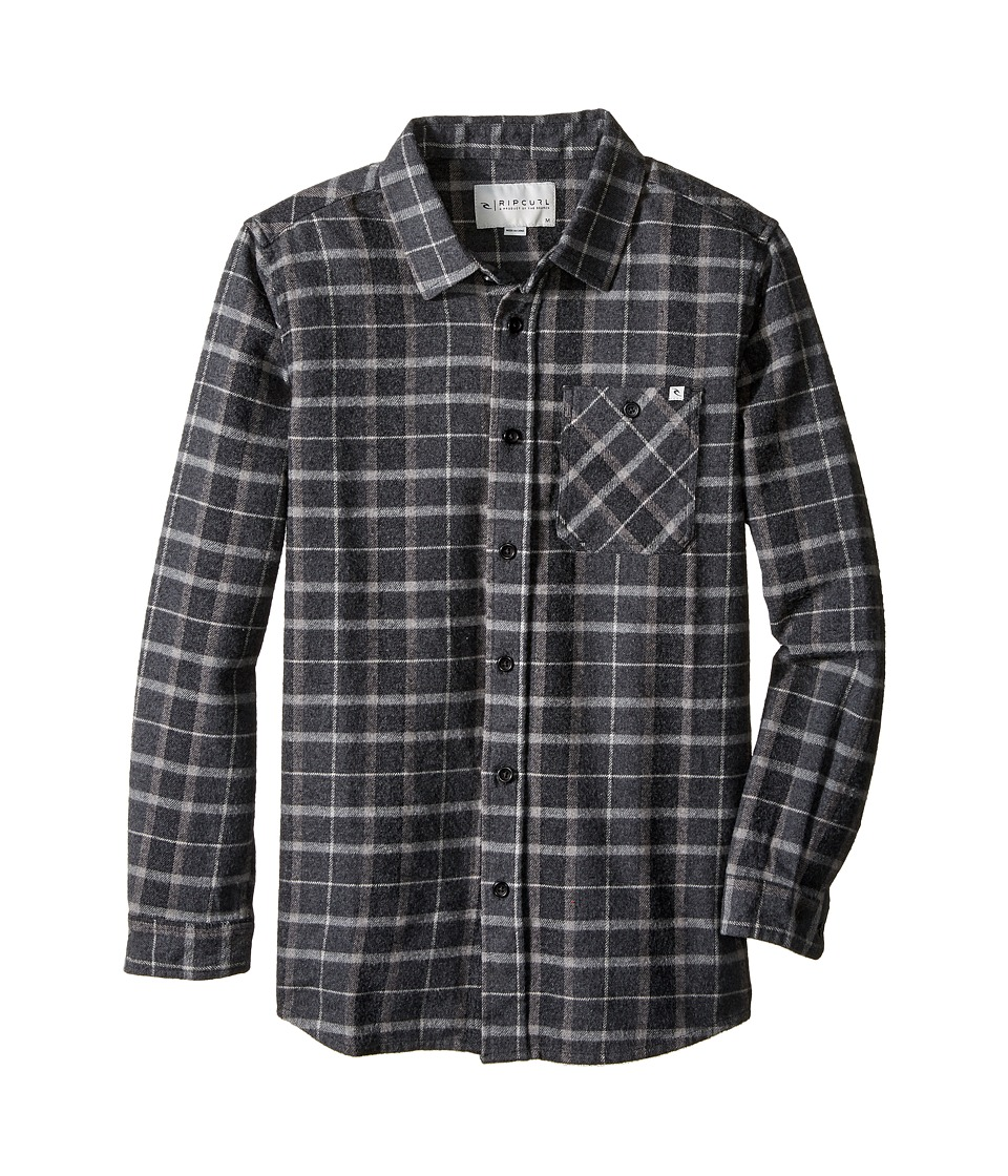 Rip Curl Kids - Blackburn Long Sleeve Flannel (Big Kids) (Black) Boy's Long Sleeve Button Up