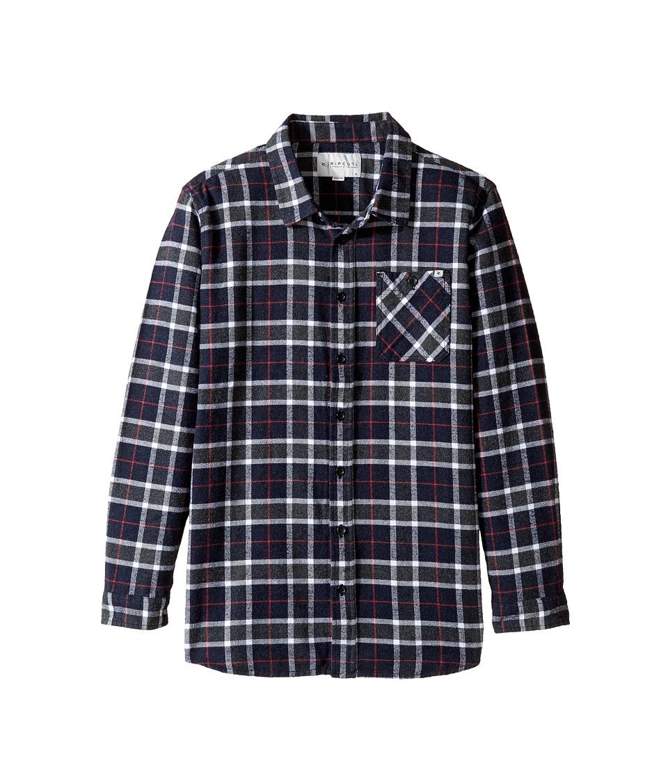 Rip Curl Kids - Blackburn Long Sleeve Flannel (Big Kids) (Navy) Boy's Long Sleeve Button Up