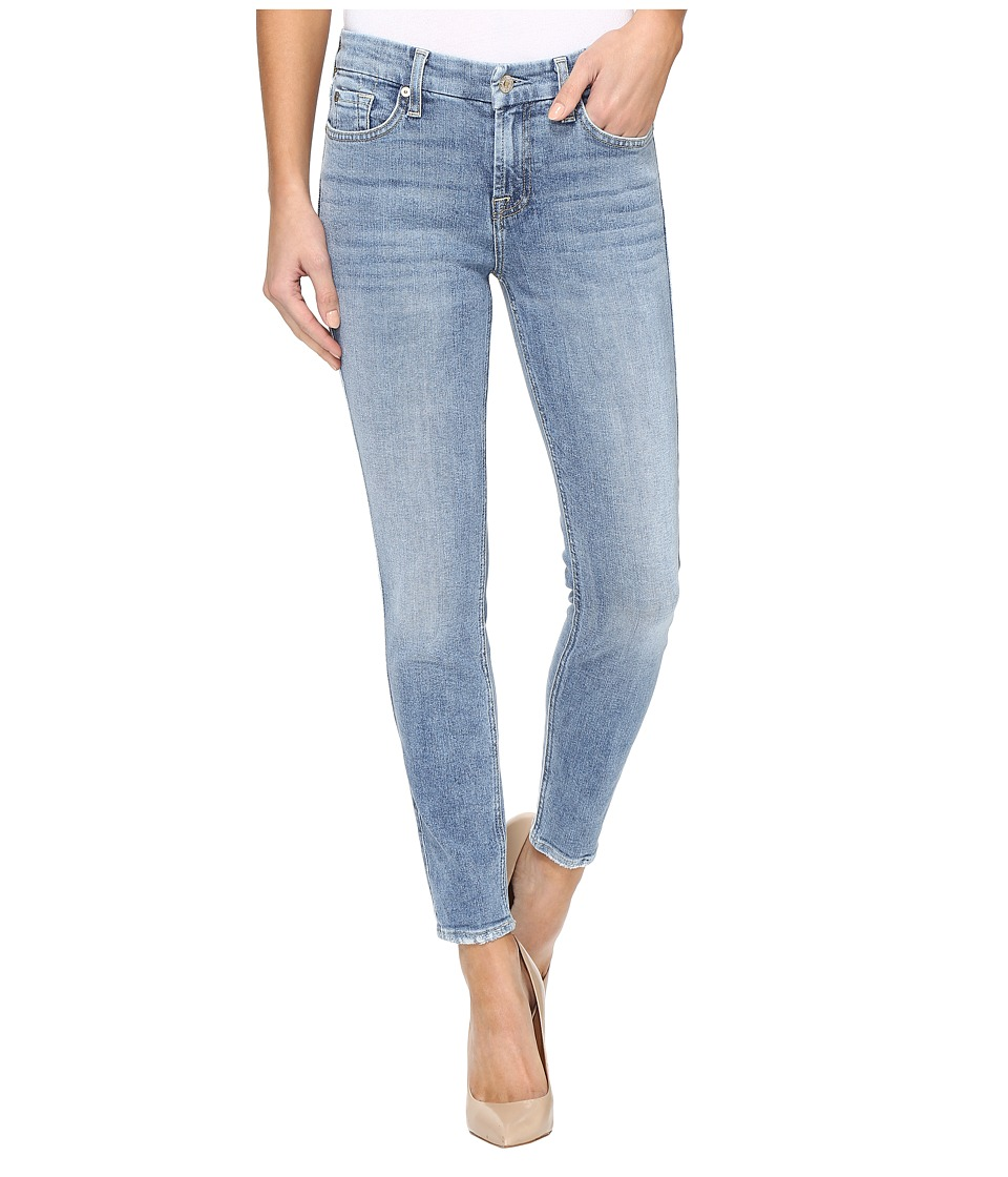 7 For All Mankind - The Ankle Skinny w/ Grinded Hem in Gold Coast Waves (Gold Coast Waves) Women's Jeans