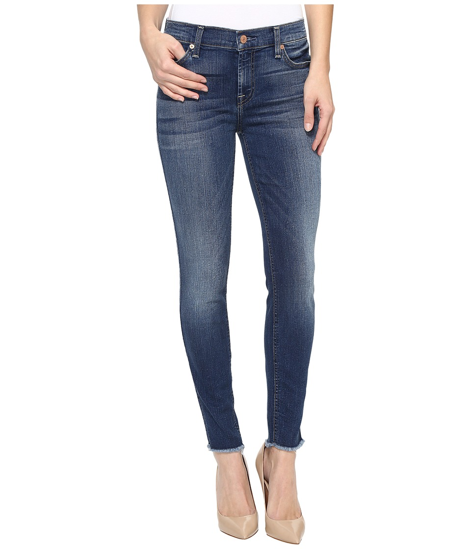 7 For All Mankind - The Ankle Skinny w/ Raw Hem in Rich Coastal Blue (Rich Coastal Blue) Women's Jeans