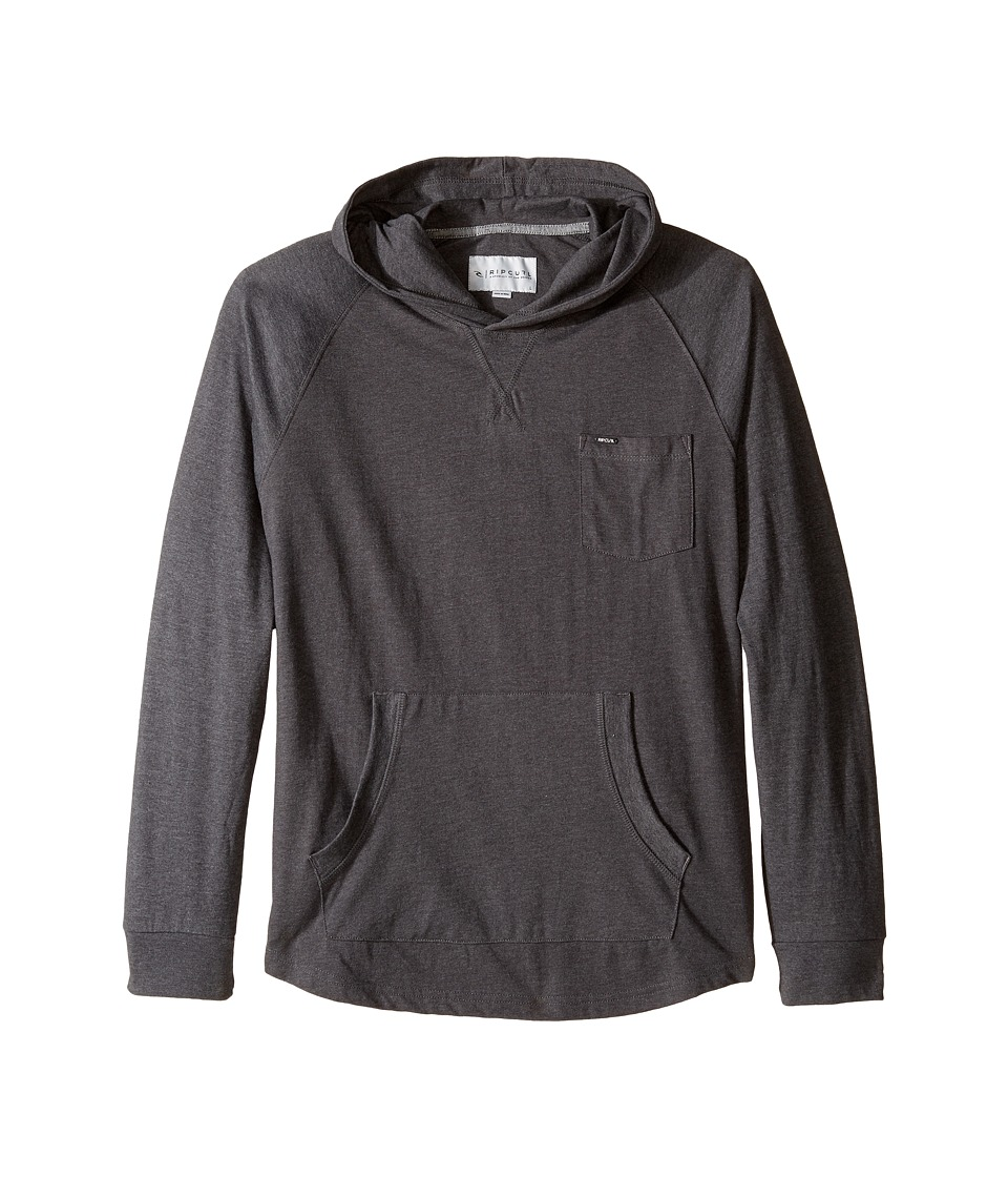 Rip Curl Kids - Binni Long Sleeve Hooded Pullover (Big Kids) (Charcoal) Boy's Long Sleeve Pullover
