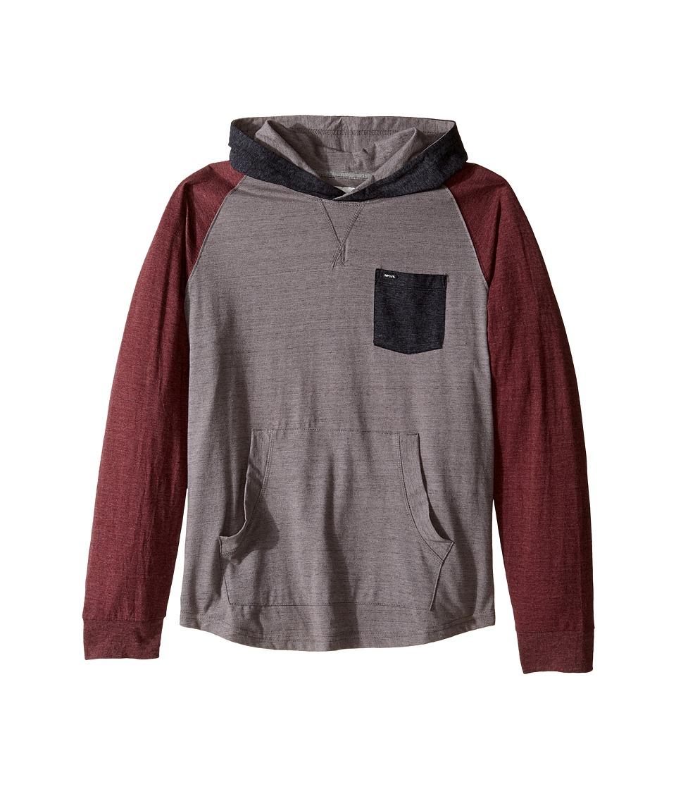 Rip Curl Kids - Binni Long Sleeve Hooded Pullover (Big Kids) (Medium Grey) Boy's Long Sleeve Pullover