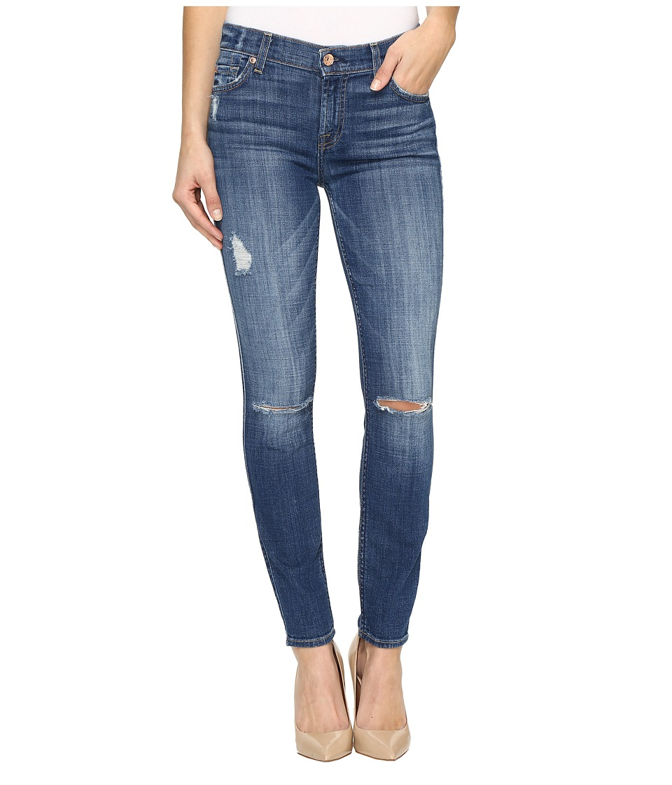 7 For All Mankind The Ankle Skinny w/ Destroy in Barrier Reef Broken Twill (Barrier Reef Broken Twill) Women