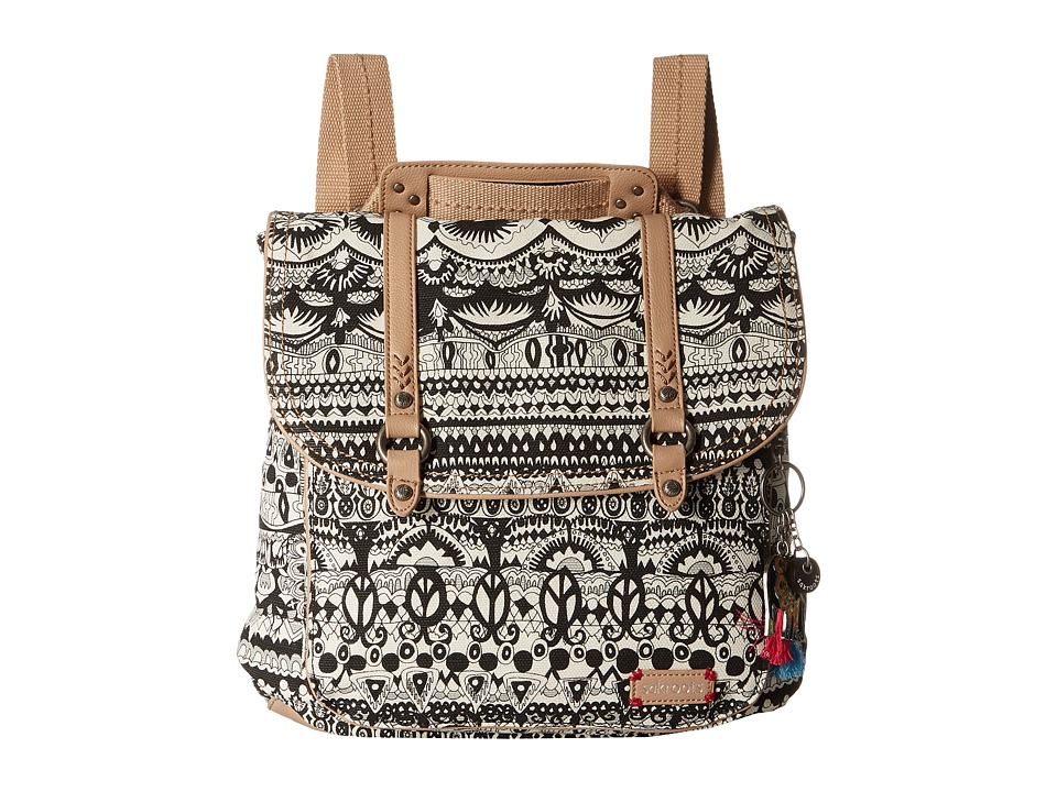 Sakroots Convertible Backpack (Black/White One World) Backpack Bags