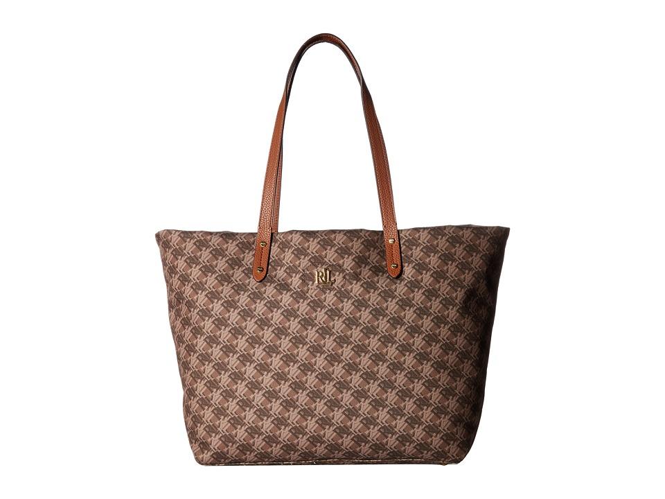 LAUREN Ralph Lauren - Bainbridge Tote (Brown Logo Print Multi) Tote Handbags
