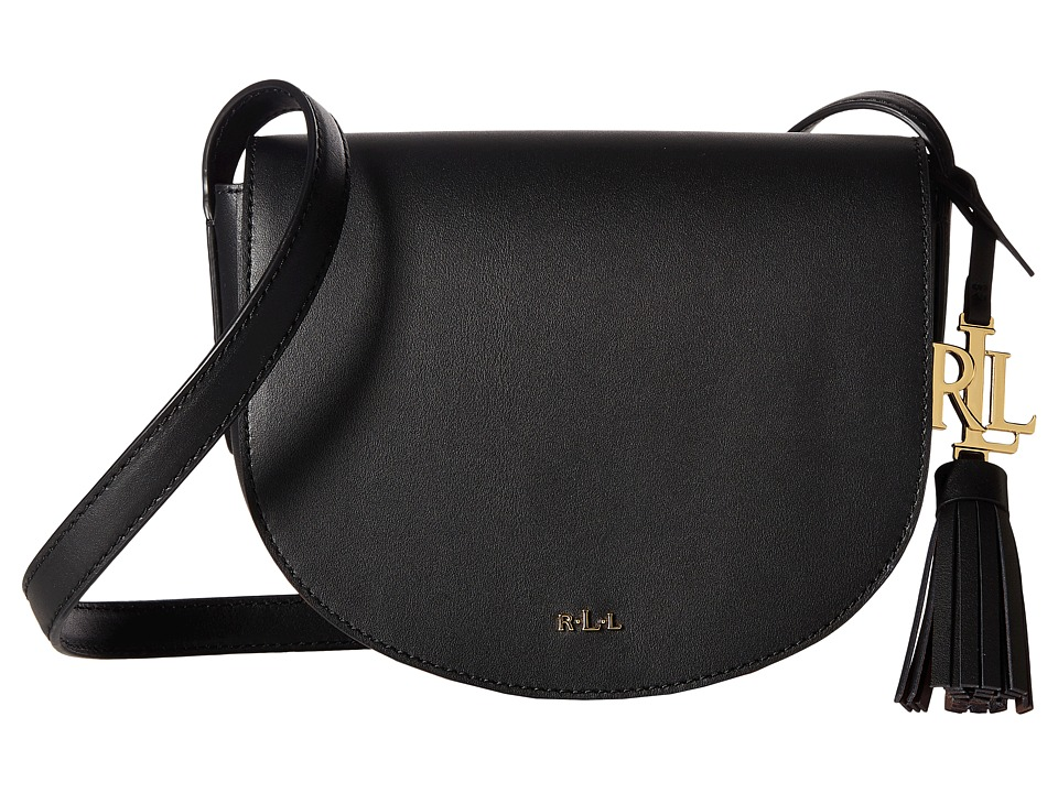 LAUREN Ralph Lauren - Dryden Caley Mini Saddle (Black/Crimson) Handbags