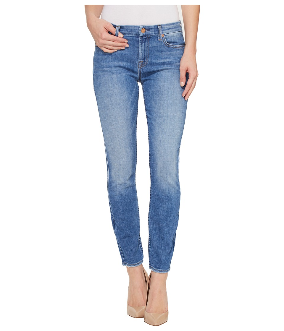 7 For All Mankind - The Ankle Skinny w/ Grinded Hem in Adelaide Bright Blue (Adelaide Bright Blue) Women's Jeans