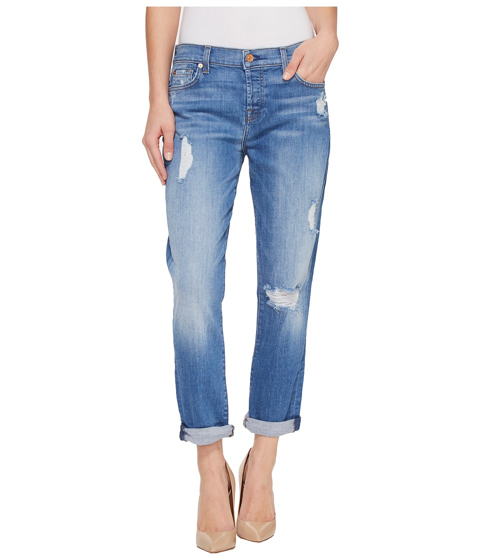 7 For All Mankind - Josefina w/ Destroy in Adelaide Bright Blue (Adelaide Bright Blue) Women's Jeans