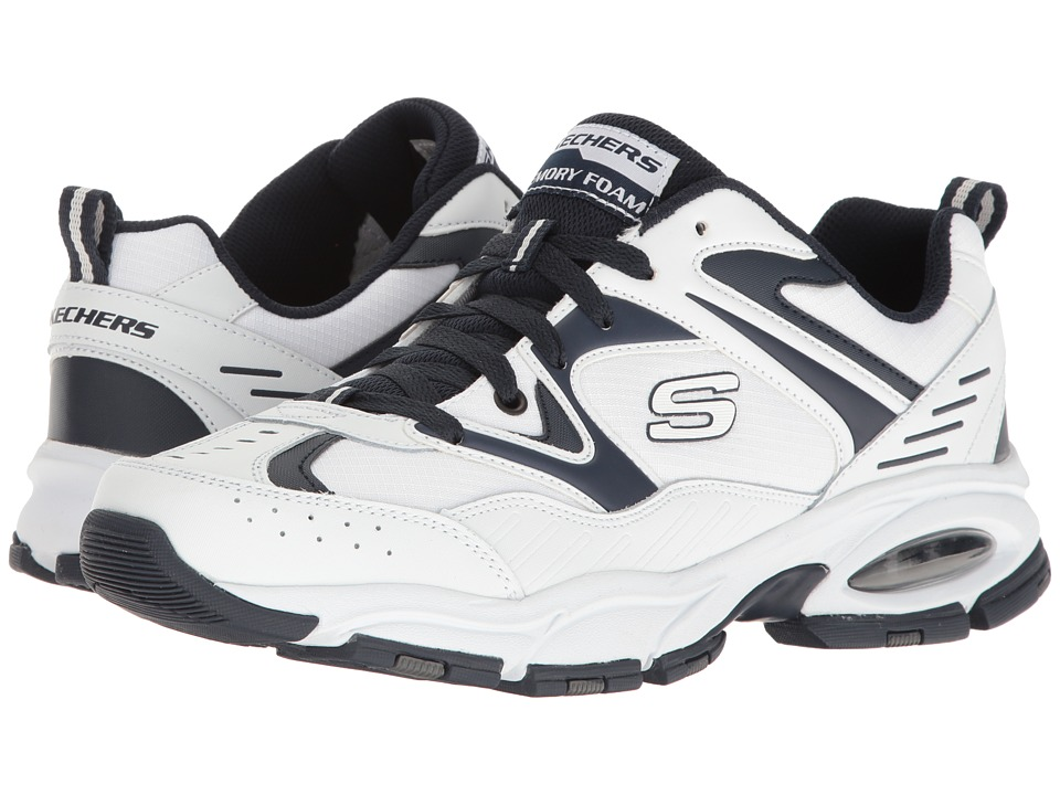 SKECHERS - Vigor Air (White/Navy) Men's Lace up casual Shoes