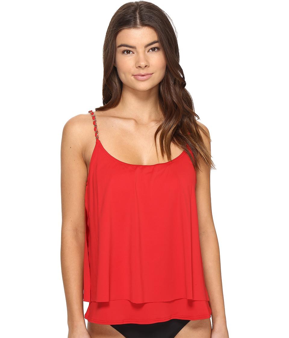 MICHAEL Michael Kors - Chain Solids Layed Tankini Top (Red Blaze) Women's Swimwear
