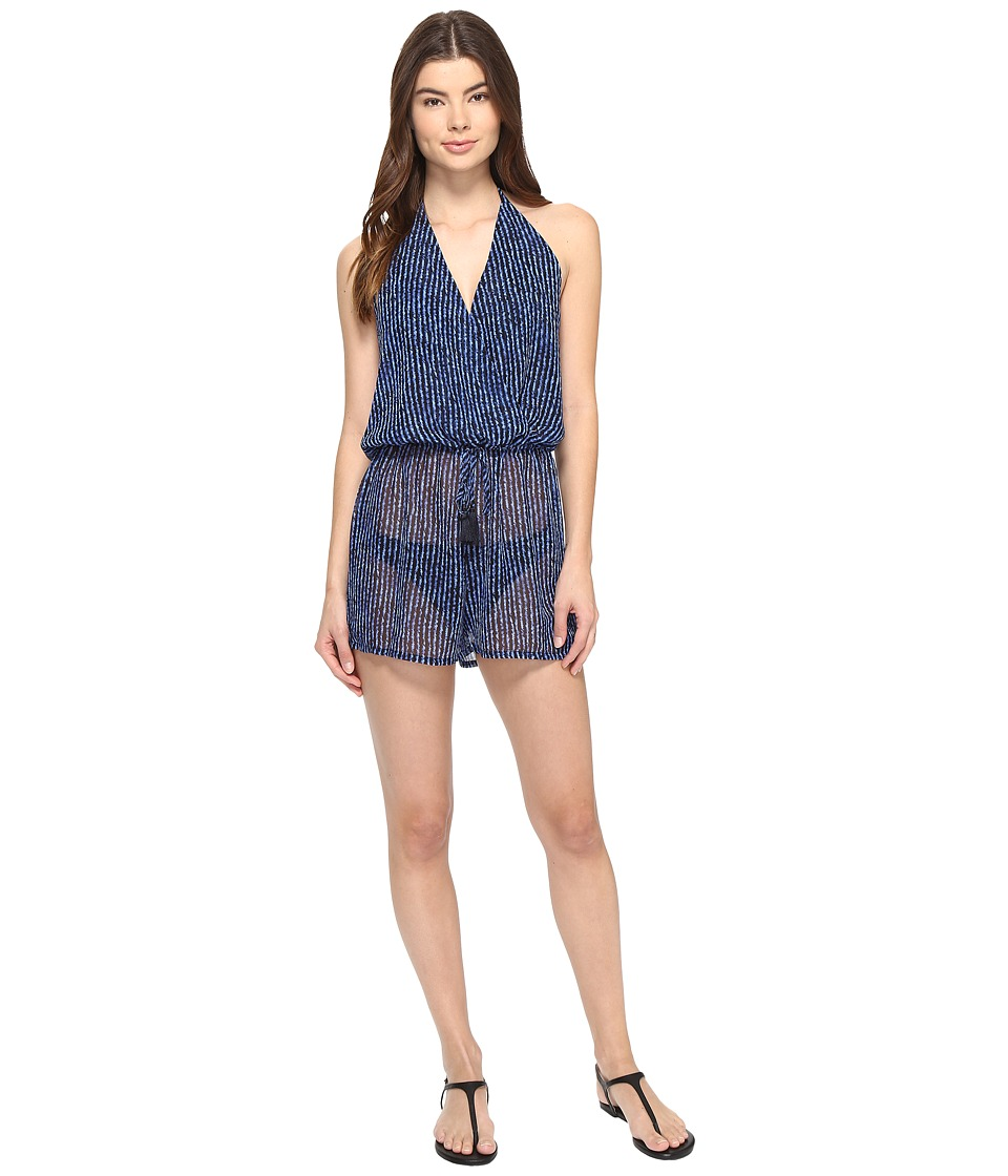 MICHAEL Michael Kors - Summer Breeze Halter Romper Cover-Up (New Navy) Women's Swimsuits One Piece