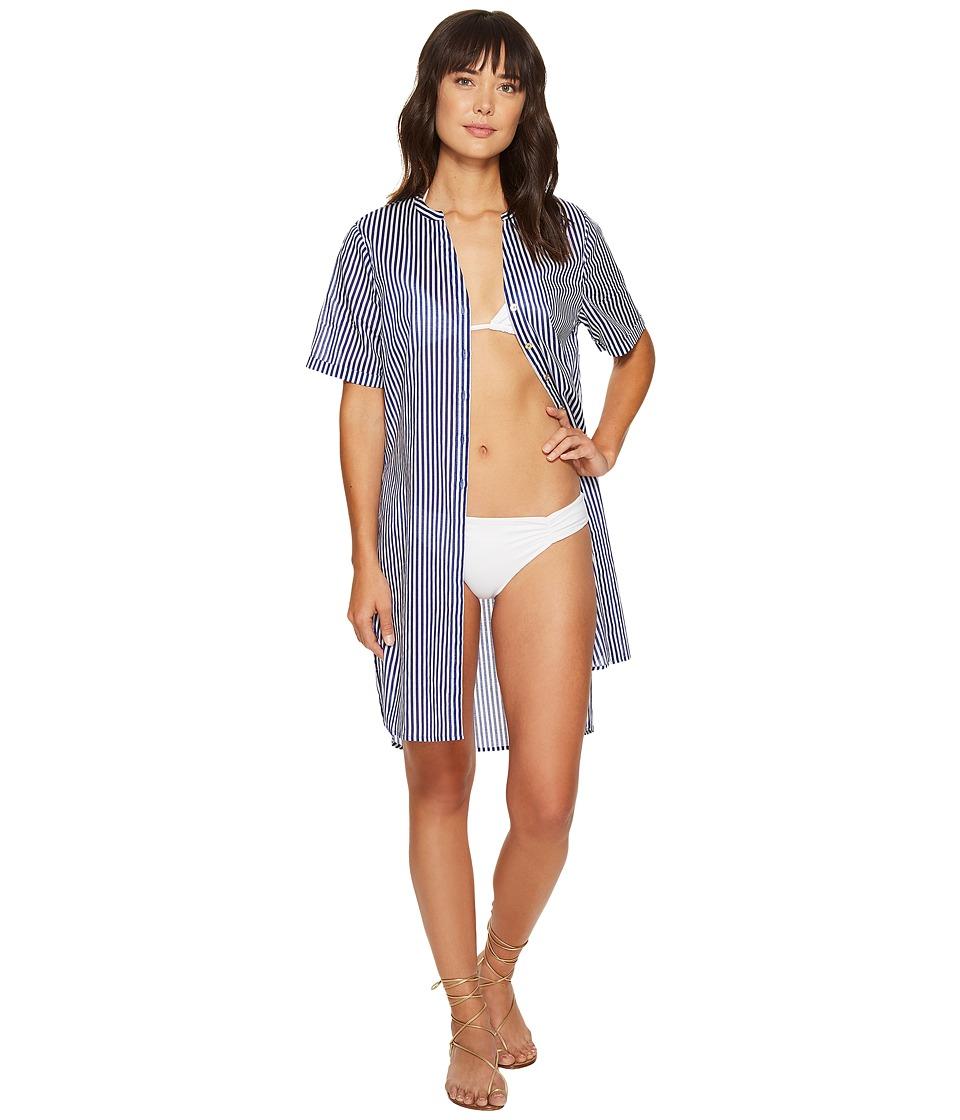 MICHAEL Michael Kors - Stable Stripe High Slit Shirt Dress Cover-Up (Dark Azurite) Women's Swimwear