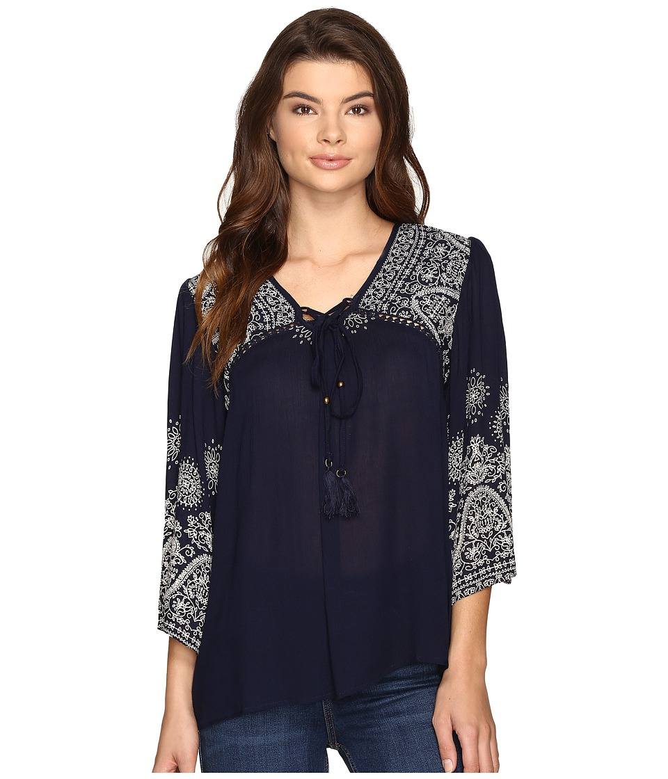Angie - Print Blouse (Navy) Women's Blouse
