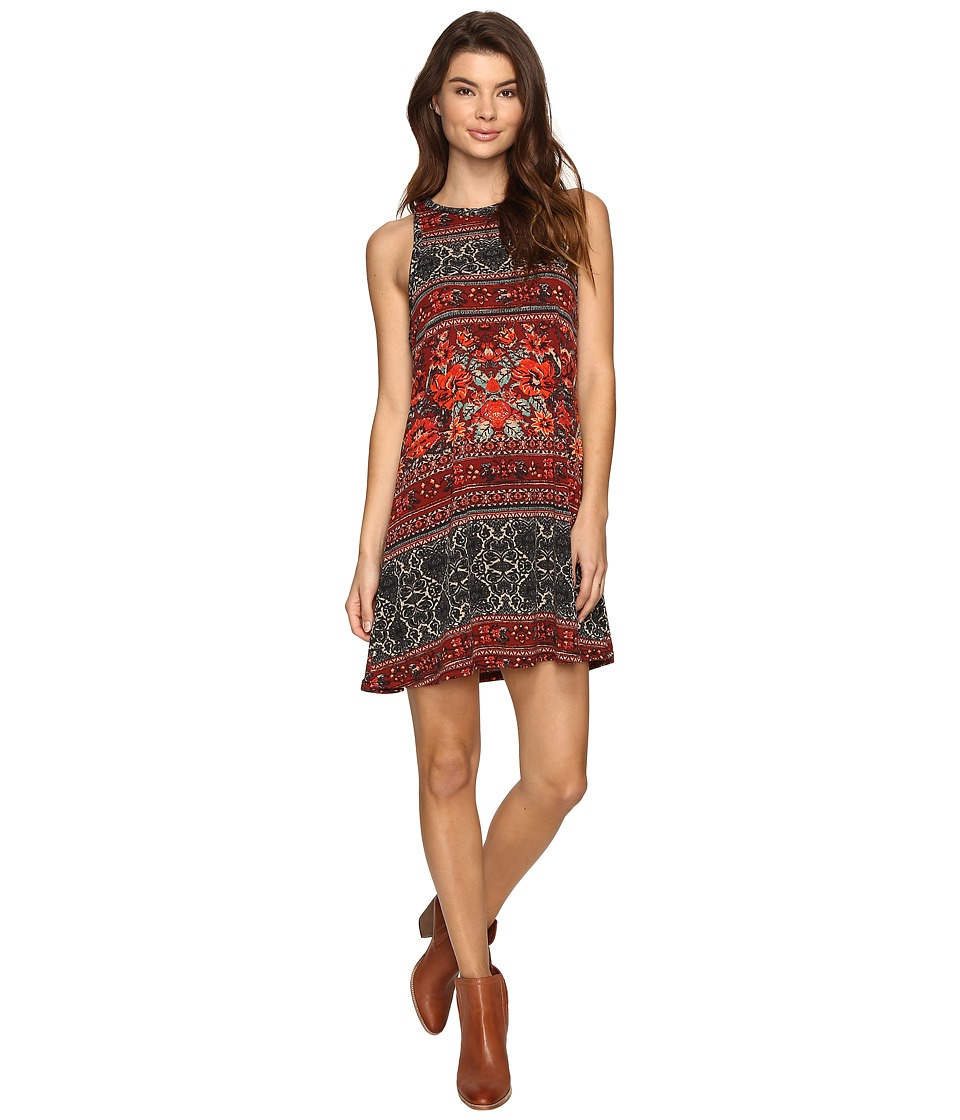 Angie - Print Knit Dress (Wine) Women's Dress