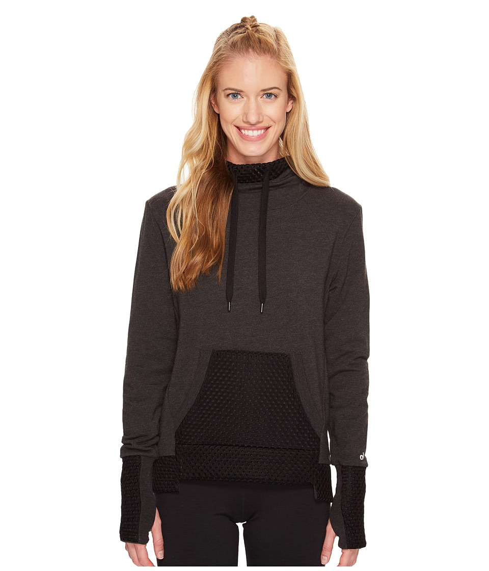 ALO - Eclipse Long Sleeve Top (Charcoal Heather/Black) Women's Clothing