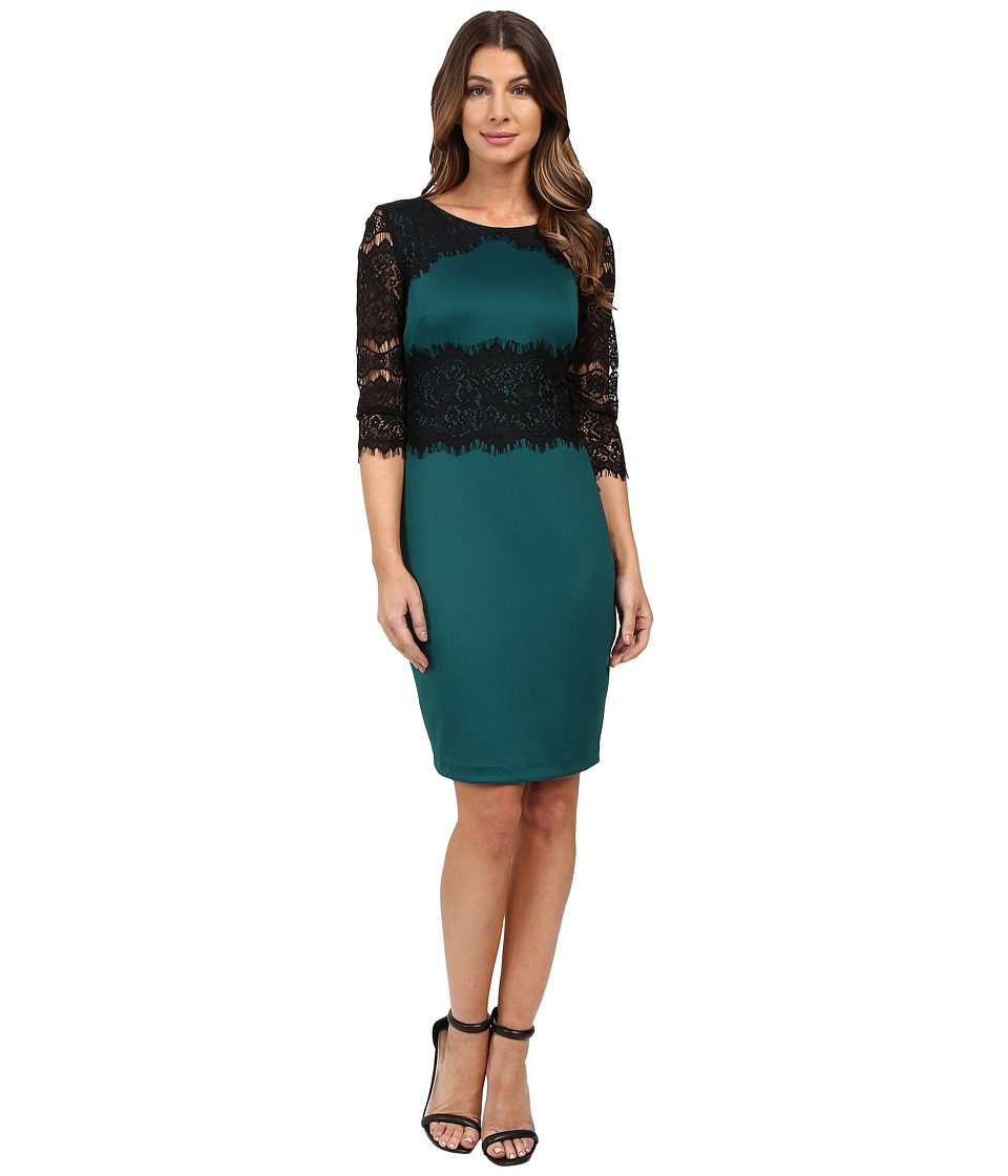 Sangria - Lace Elbow Sleeve Sheath with Waisted Lace Detail (Forest/Black) Women's Dress