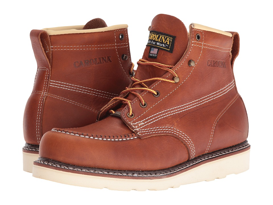 Carolina - 6 Domestic Moc Toe Wedge (Tobacco) Men's Work Boots