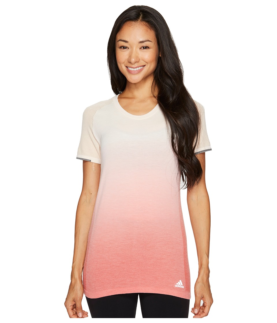 adidas - Primeknit Wool Short Sleeve Dip-Dye Tee (Linen/Easy Coral) Women's T Shirt