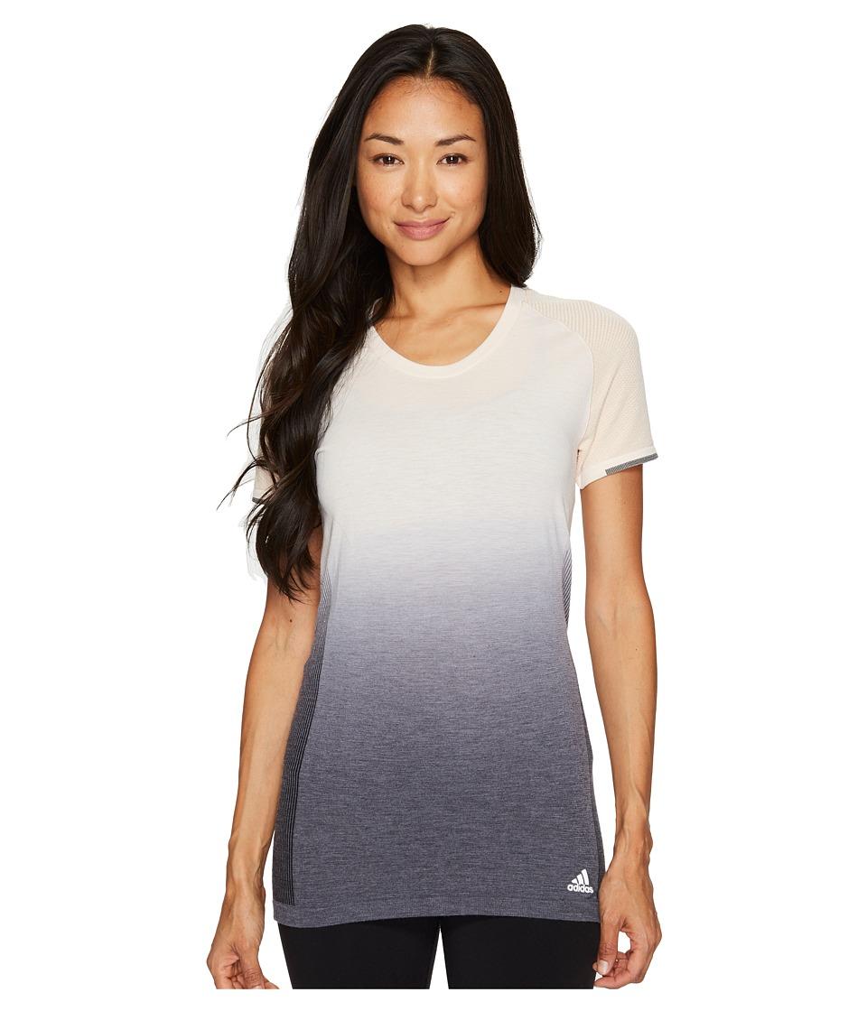 adidas - Primeknit Wool Short Sleeve Dip-Dye Tee (Linen/Black) Women's T Shirt