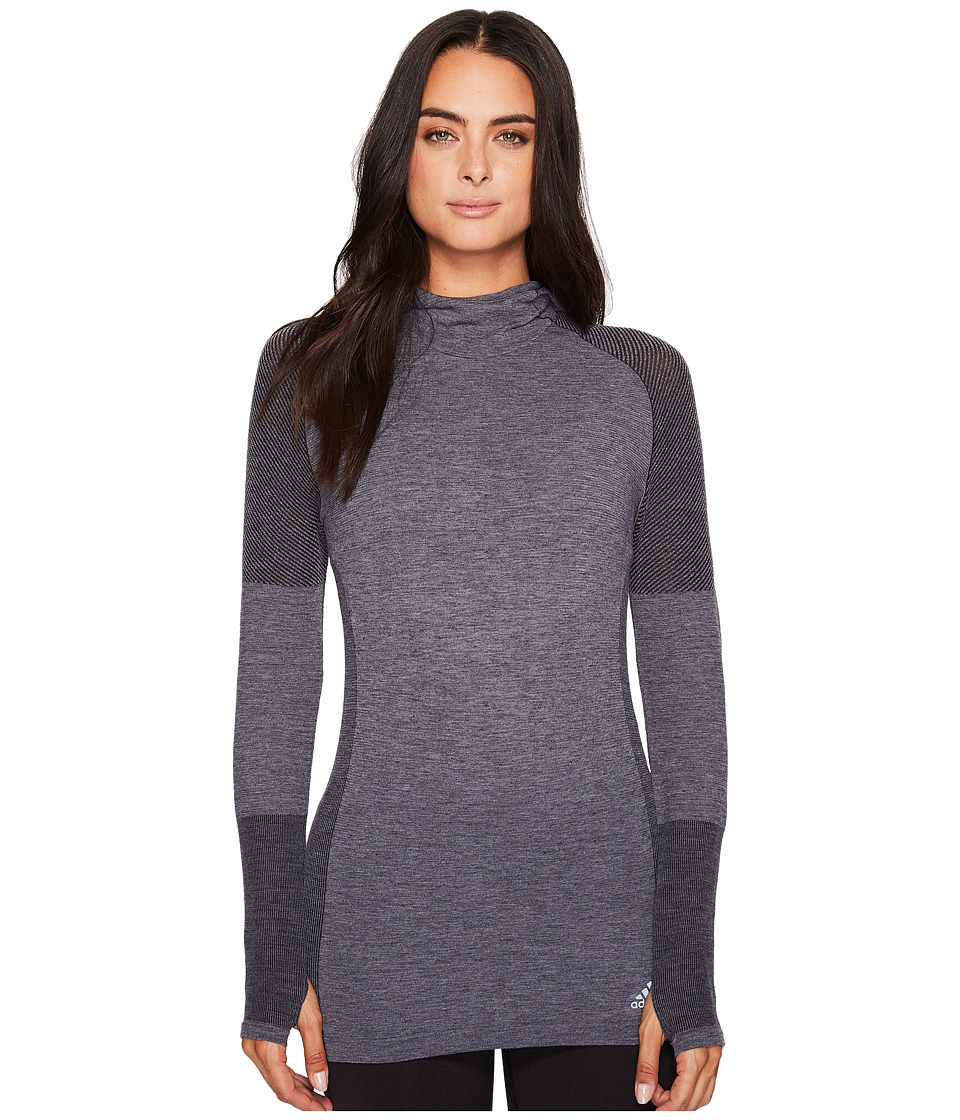 adidas - Primeknit Wool Long Sleeve Hooded Tee (Black) Women's T Shirt