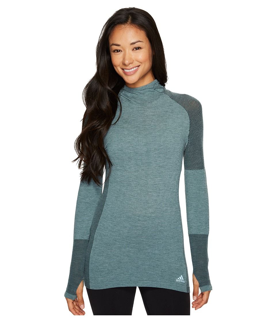 adidas - Primeknit Wool Long Sleeve Hooded Tee (Utility Ivy) Women's T Shirt