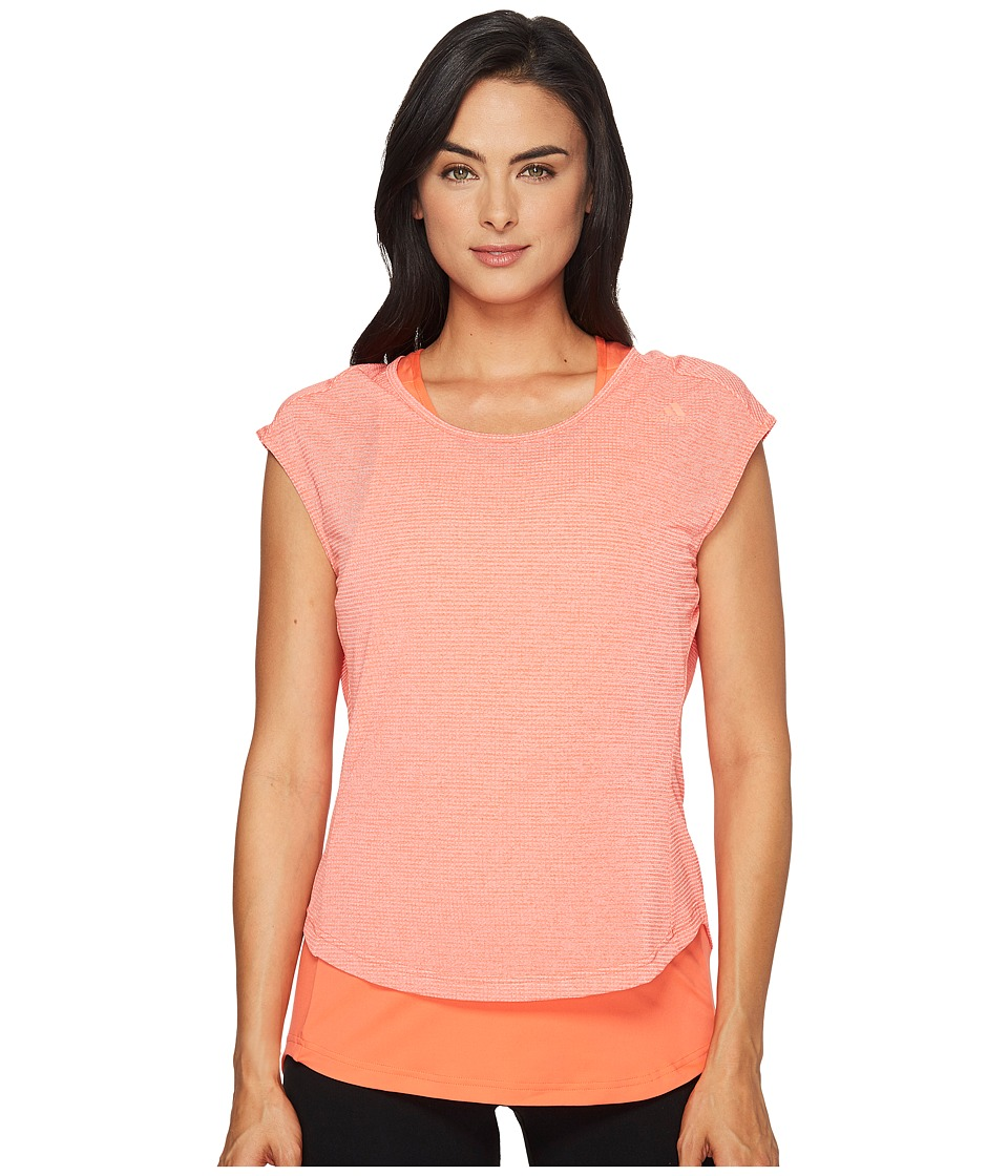 adidas - Supernova Tokyo Two Layer Short Sleeve Tee (Easy Coral) Women's Sleeveless
