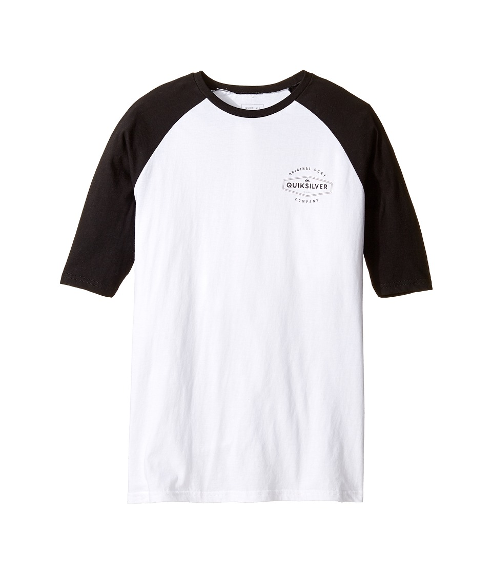 Quiksilver Kids - Last Call Raglan Screen Tee (Big Kids) (White) Boy's T Shirt