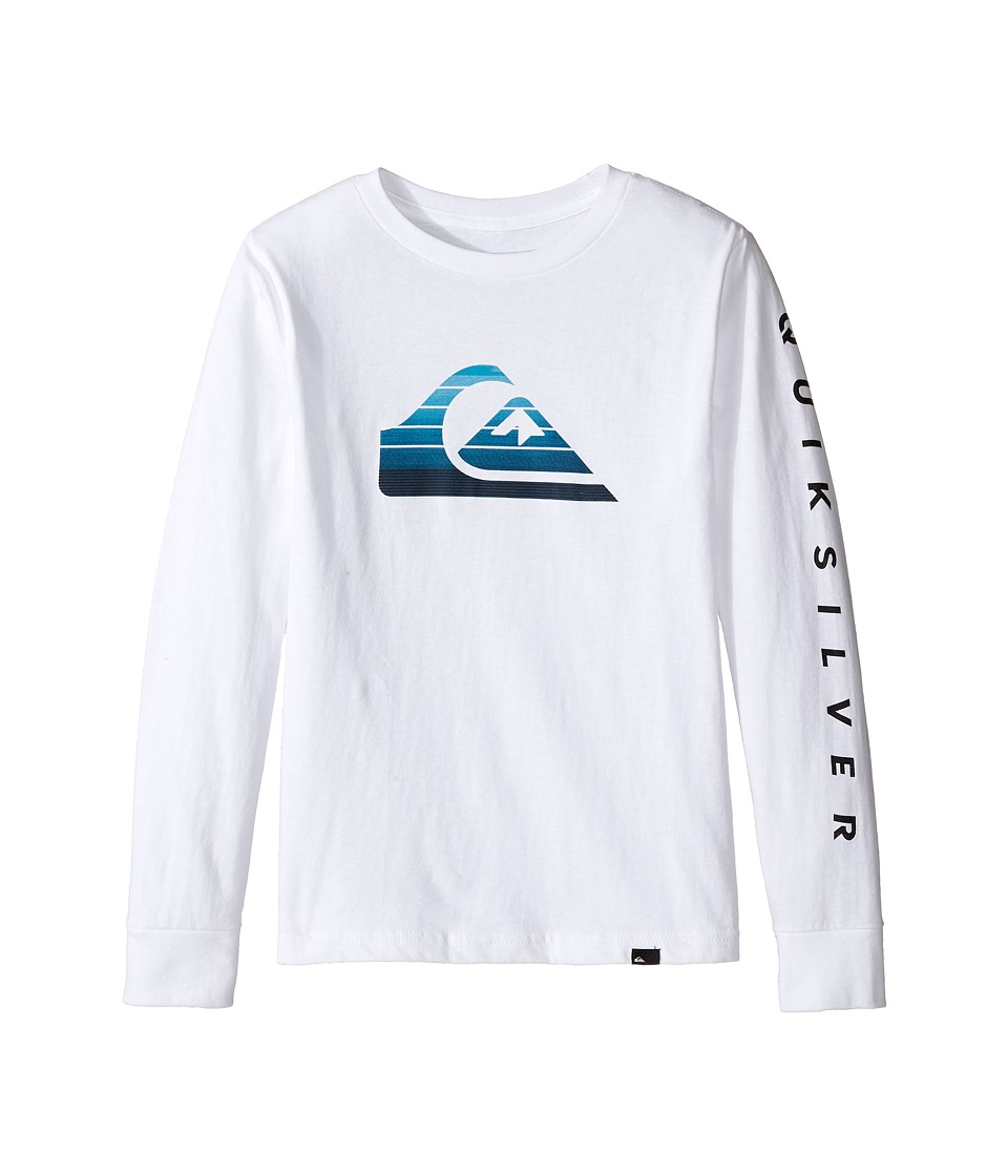 Quiksilver Kids - Milk Money Long Sleeve Screen Tee (Big Kids) (White) Boy's T Shirt
