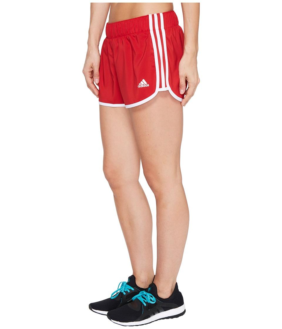 adidas - Woven 3-Stripes Shorts (Power Red/White) Women's Shorts