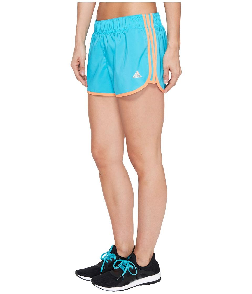 adidas - Woven 3-Stripes Shorts (Energy Blue/Easy Orange) Women's Shorts