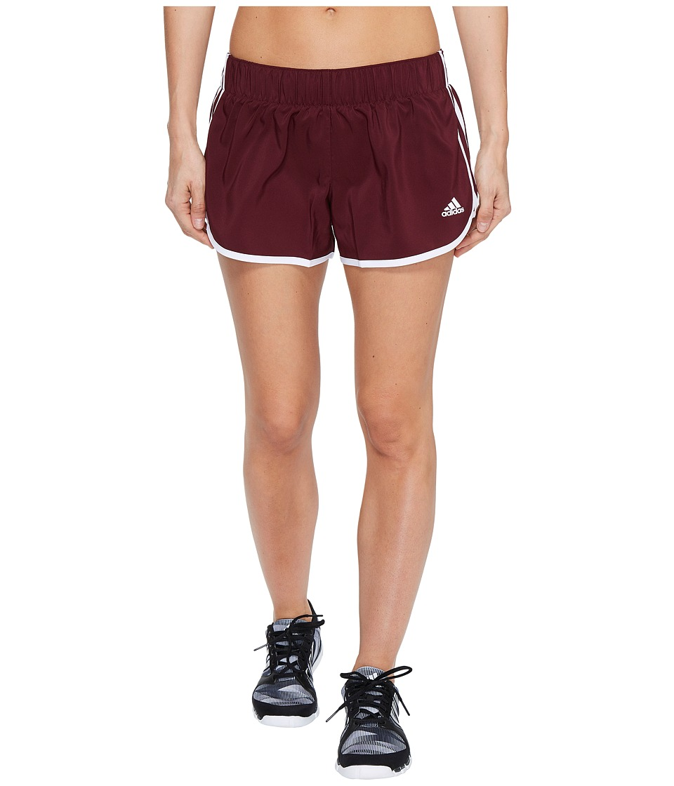 adidas - Woven 3-Stripes Shorts (Maroon/White) Women's Shorts