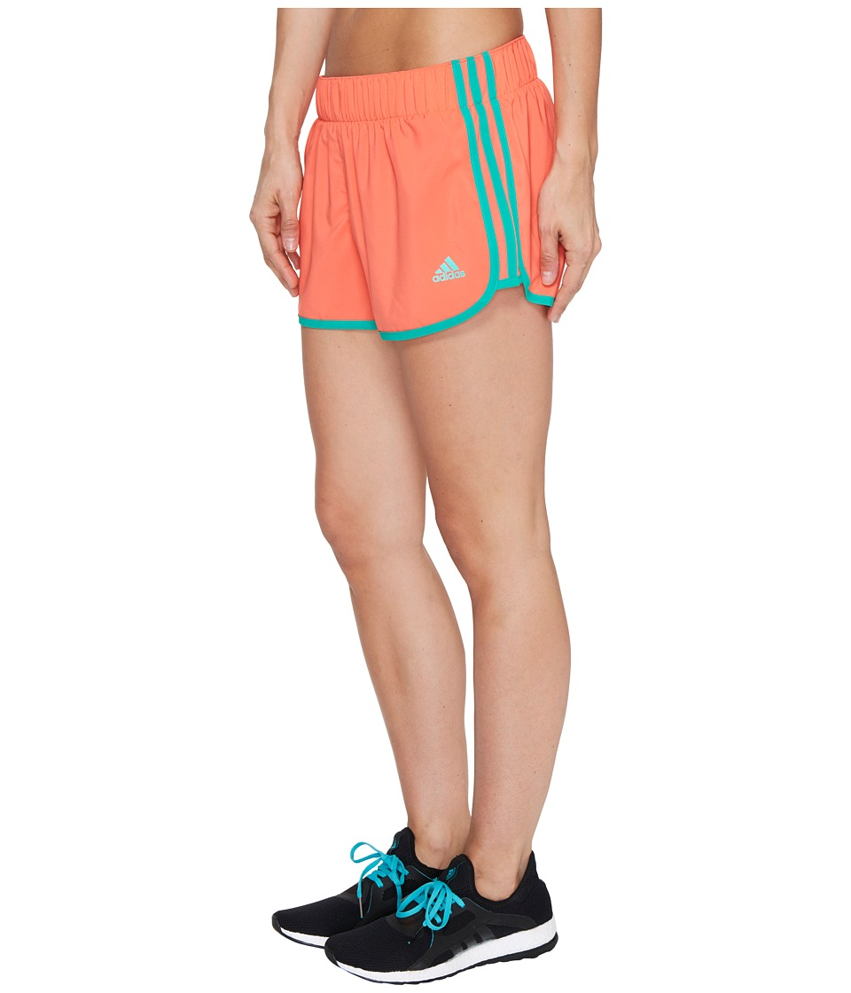 adidas - Woven 3-Stripes Shorts (Easy Coral/Core Green) Women's Shorts