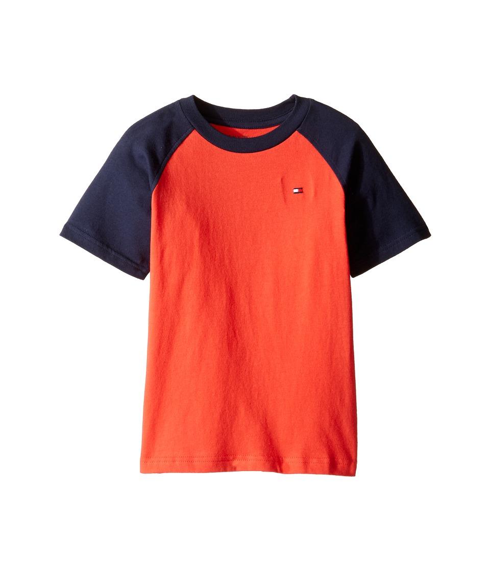 Tommy Hilfiger Kids - Gordon Short Sleeve Raglan Tee (Toddler/Little Kids) (Holly Red) Boy's T Shirt