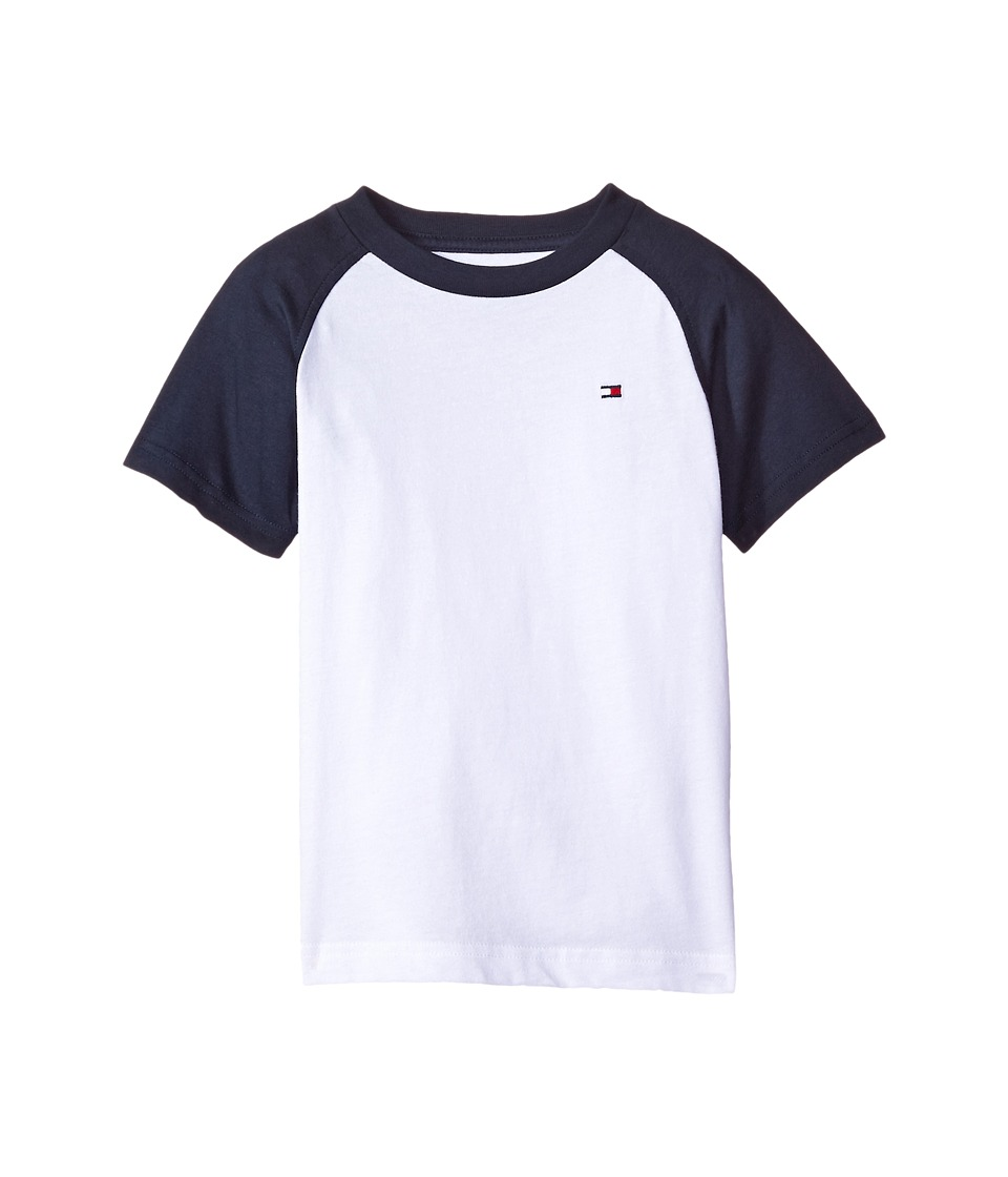 Tommy Hilfiger Kids - Gordon Short Sleeve Raglan Tee (Toddler/Little Kids) (White) Boy's T Shirt