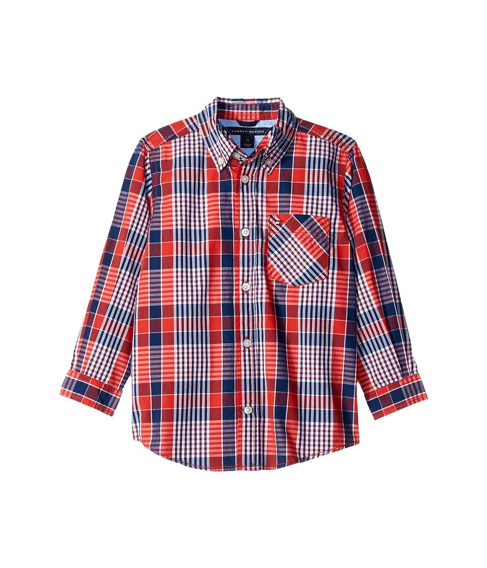 Tommy Hilfiger Kids - Everett Plaid Long Sleeve Shirt (Big Kids) (Holly Red) Boy's Long Sleeve Button Up