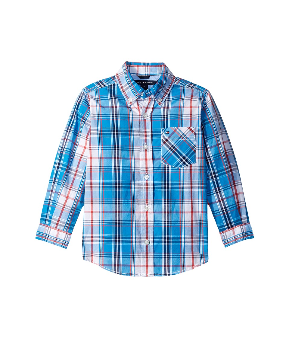 Tommy Hilfiger Kids - Ellison Plaid Long Sleeve Shirt (Toddler/Little Kids) (Forza Blue) Boy's Long Sleeve Button Up
