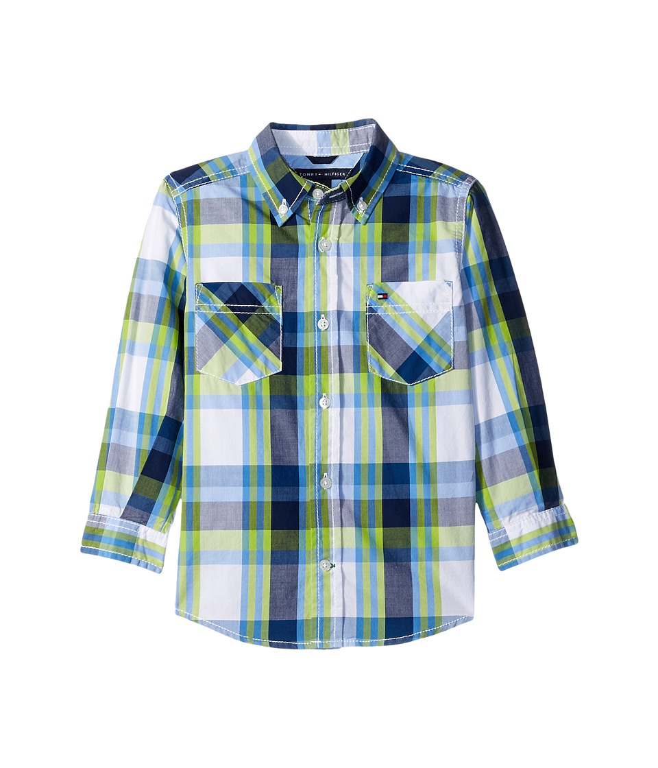 Tommy Hilfiger Kids - Basil Plaid Long Sleeve Shirt (Big Kids) (White) Boy's Long Sleeve Button Up