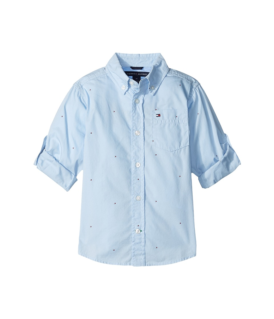Tommy Hilfiger Kids - Micro Flags Printed Poplin Woven Shirt (Toddler/Little Kids) (Cashmere Blue) Boy's Long Sleeve Button Up