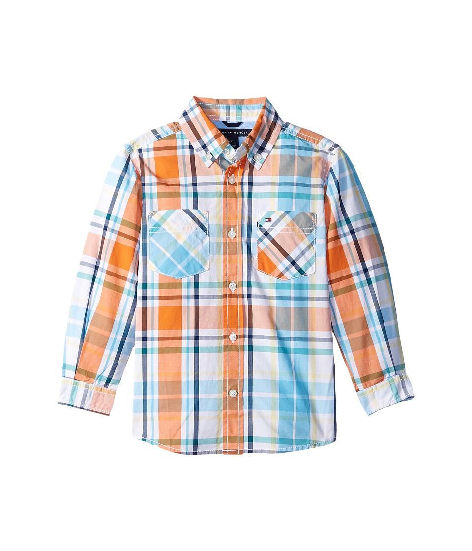 Tommy Hilfiger Kids - Sebastian Plaid Long Sleeve Woven Shirt (Big Kids) (White) Boy's Long Sleeve Button Up